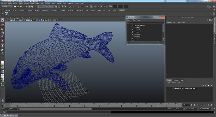 Harivake Koi Fish Swiming Pose royalty-free 3d model - Preview no. 21