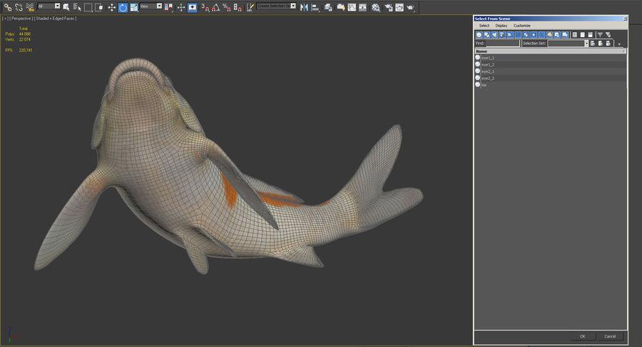 Harivake Koi Fish Swiming Pose royalty-free 3d model - Preview no. 19