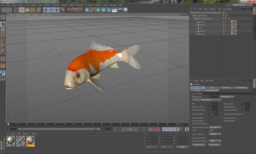 Harivake Koi Fish Swiming Pose royalty-free 3d model - Preview no. 20