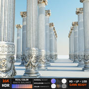Ancient Pillar game ready (2) (2) 3d model