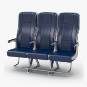 Aircraft Economy Class Passenger Triple Seats 3d model