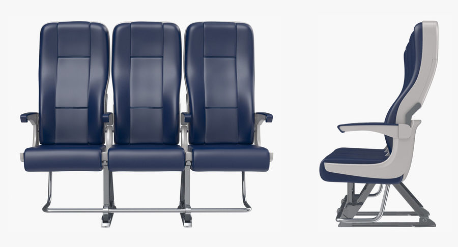 Aircraft Economy Class Passenger Triple Seats royalty-free 3d model - Preview no. 4