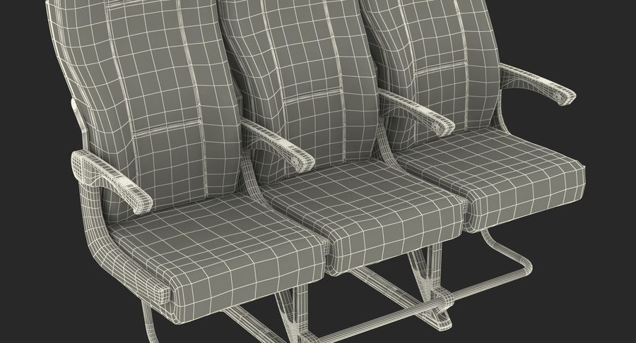 Aircraft Economy Class Passenger Triple Seats royalty-free 3d model - Preview no. 22