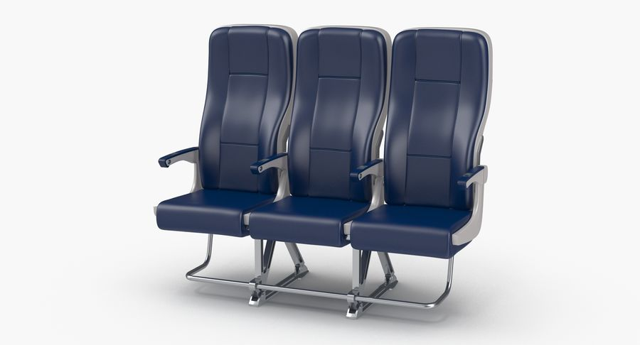 Aircraft Economy Class Passenger Triple Seats royalty-free 3d model - Preview no. 2