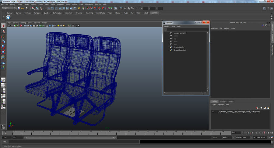 Aircraft Economy Class Passenger Triple Seats royalty-free 3d model - Preview no. 19