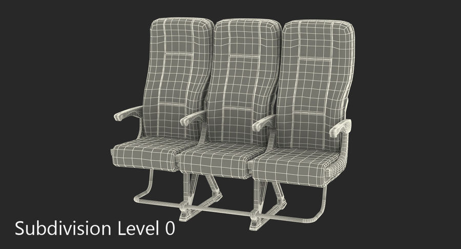 Aircraft Economy Class Passenger Triple Seats royalty-free 3d model - Preview no. 13