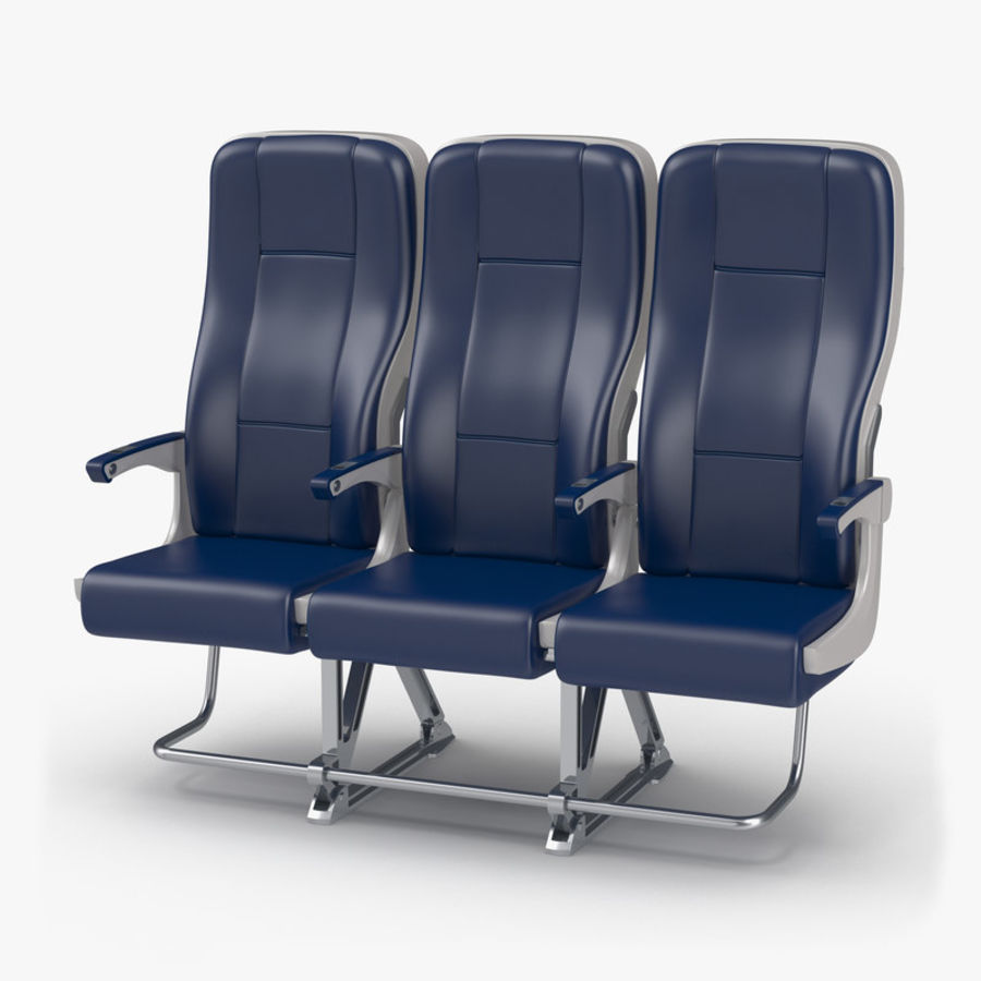Aircraft Economy Class Passenger Triple Seats royalty-free 3d model - Preview no. 1
