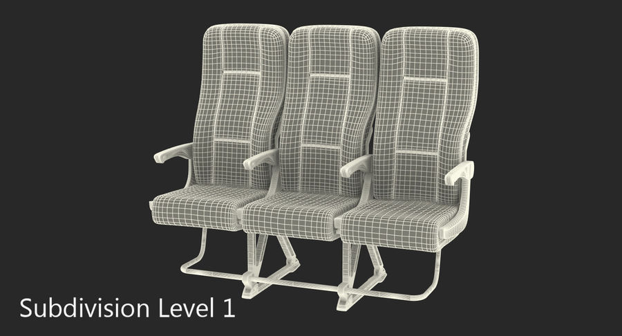 Aircraft Economy Class Passenger Triple Seats royalty-free 3d model - Preview no. 14