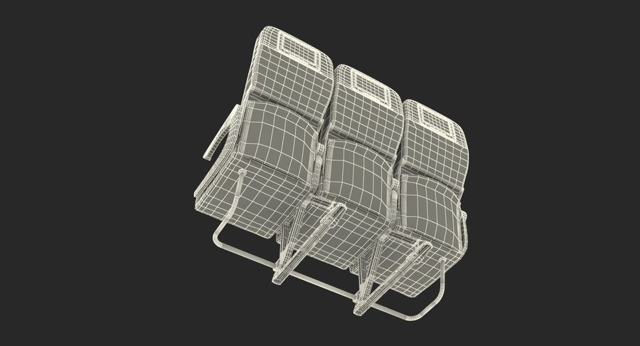 Aircraft Economy Class Passenger Triple Seats royalty-free 3d model - Preview no. 21