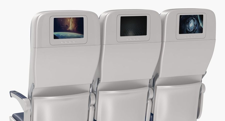 Aircraft Economy Class Passenger Triple Seats royalty-free 3d model - Preview no. 9