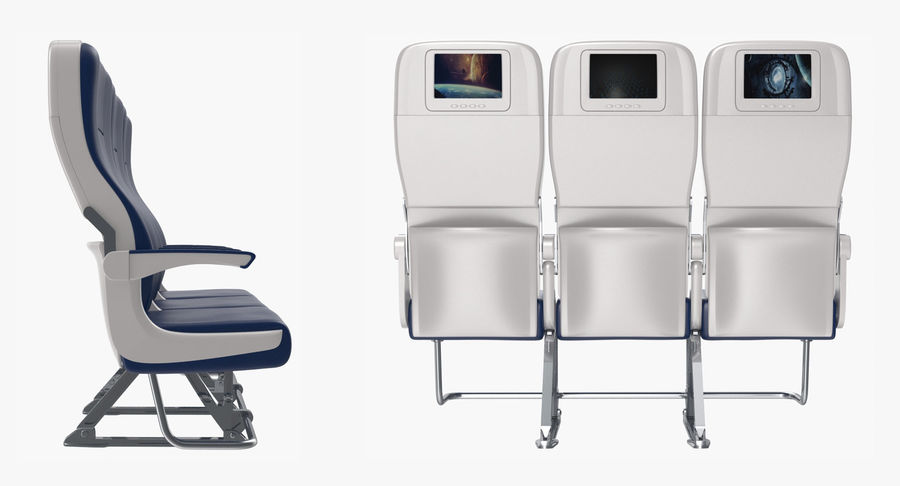 Aircraft Economy Class Passenger Triple Seats royalty-free 3d model - Preview no. 5