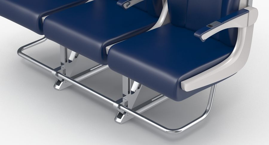 Aircraft Economy Class Passenger Triple Seats royalty-free 3d model - Preview no. 11