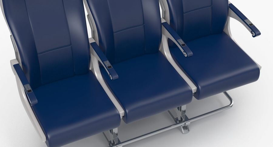Aircraft Economy Class Passenger Triple Seats royalty-free 3d model - Preview no. 8