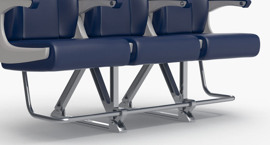 Aircraft Economy Class Passenger Triple Seats royalty-free 3d model - Preview no. 12