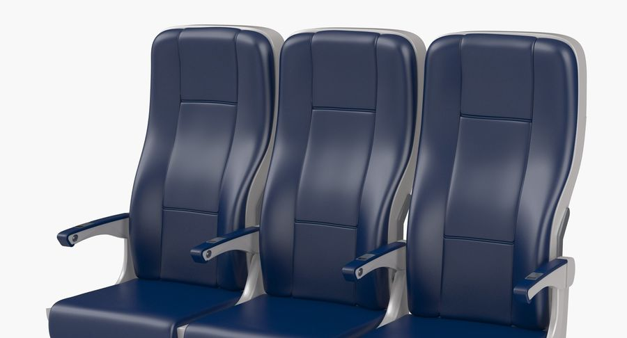 Aircraft Economy Class Passenger Triple Seats royalty-free 3d model - Preview no. 7