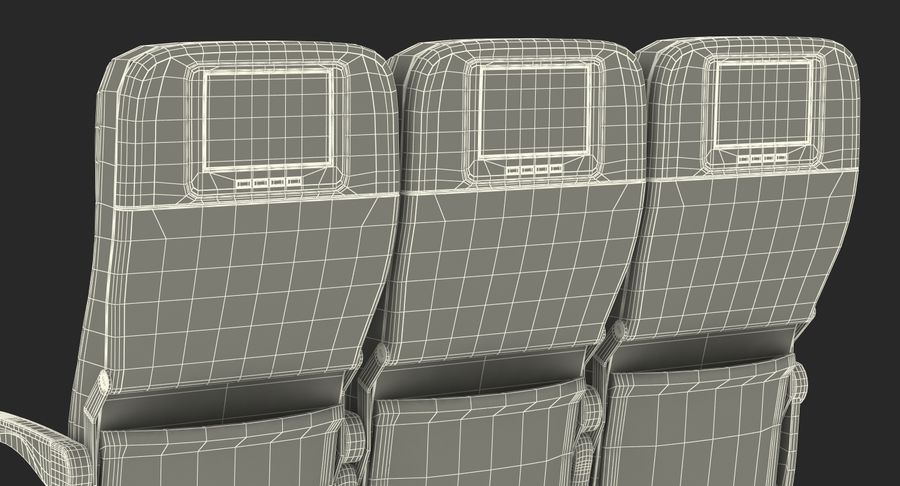 Aircraft Economy Class Passenger Triple Seats royalty-free 3d model - Preview no. 24