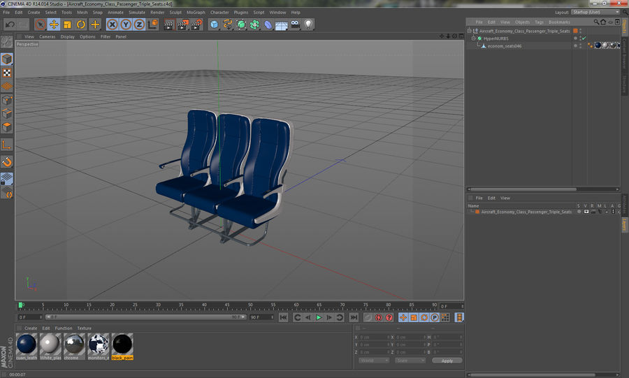 Aircraft Economy Class Passenger Triple Seats royalty-free 3d model - Preview no. 18