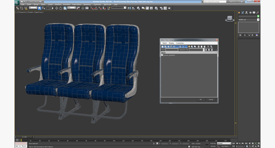 Aircraft Economy Class Passenger Triple Seats royalty-free 3d model - Preview no. 17