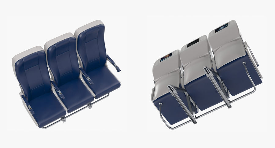 Aircraft Economy Class Passenger Triple Seats royalty-free 3d model - Preview no. 6