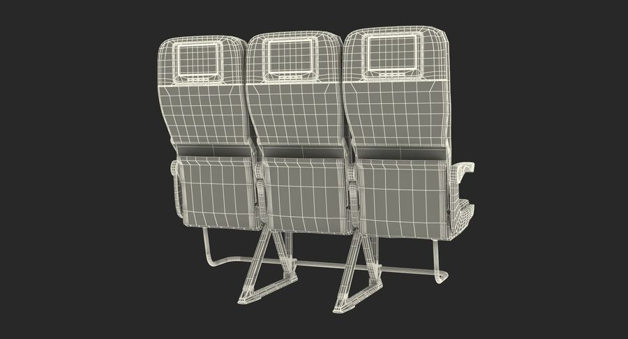 Aircraft Economy Class Passenger Triple Seats royalty-free 3d model - Preview no. 20