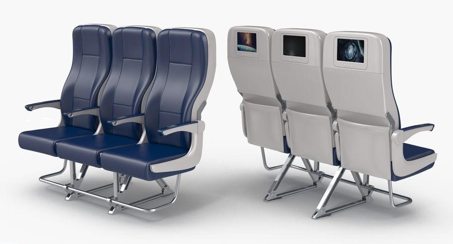 Aircraft Economy Class Passenger Triple Seats royalty-free 3d model - Preview no. 3