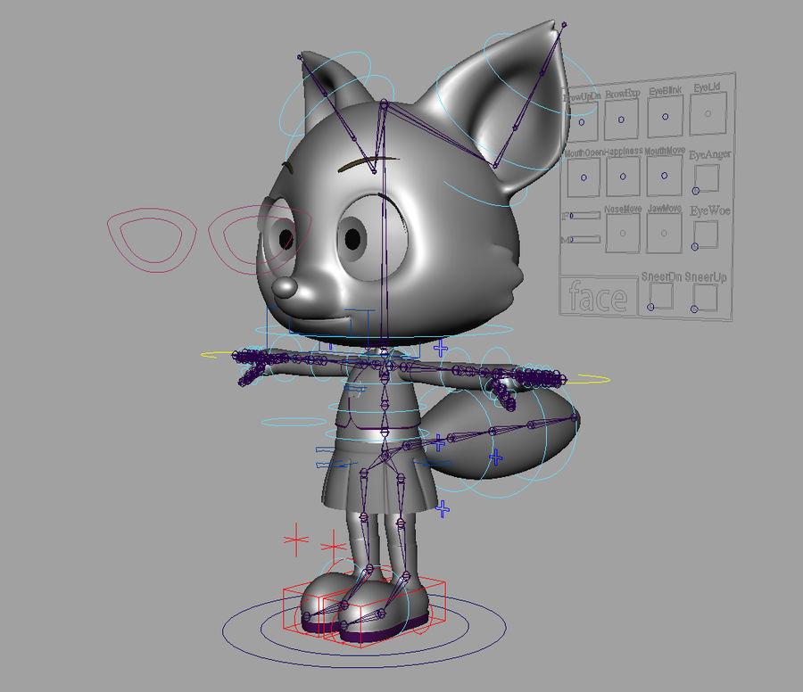 Cartoon fox royalty-free 3d model - Preview no. 8