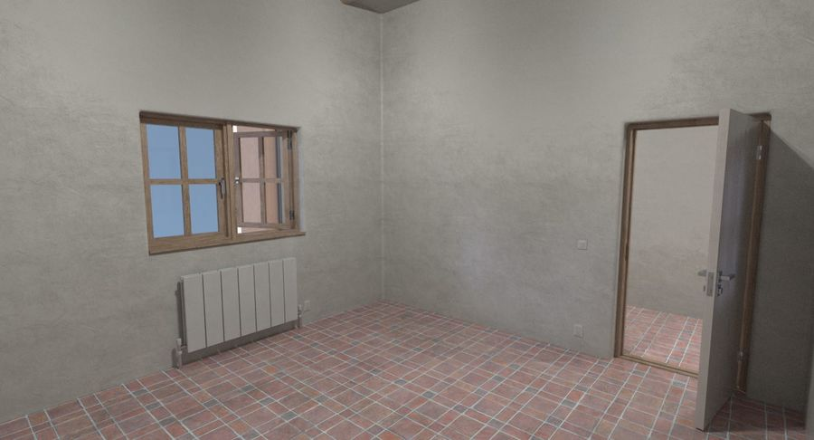 Adobe house two interior + exterior full royalty-free 3d model - Preview no. 12