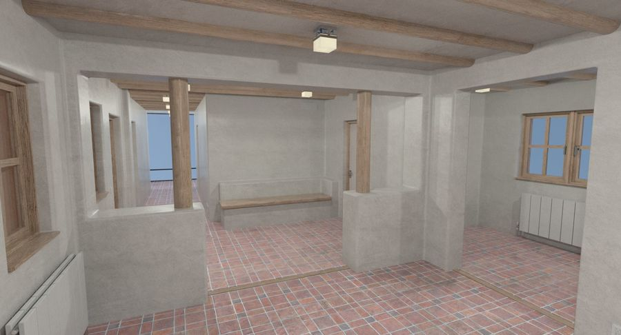 Adobe house two interior + exterior full royalty-free 3d model - Preview no. 9