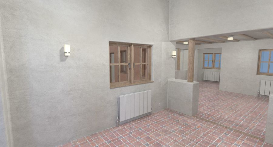 Adobe house two interior + exterior full royalty-free 3d model - Preview no. 11