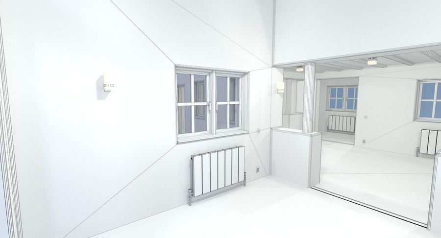 Adobe house two interior + exterior full royalty-free 3d model - Preview no. 24