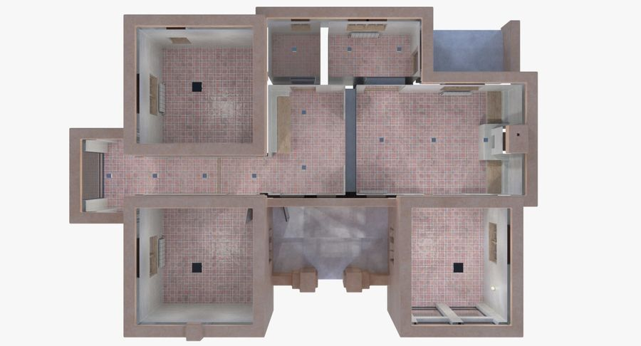 Adobe house two interior + exterior full royalty-free 3d model - Preview no. 14