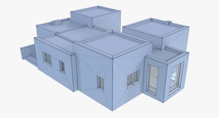 Adobe house two interior + exterior full royalty-free 3d model - Preview no. 17