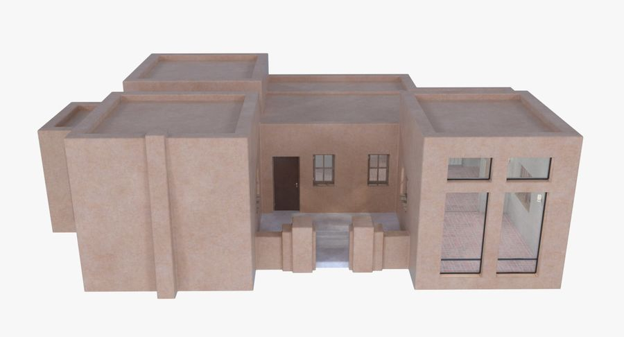 Adobe house two interior + exterior full royalty-free 3d model - Preview no. 2