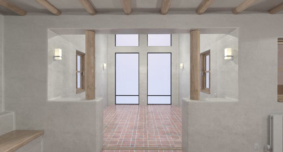 Adobe house two interior + exterior full royalty-free 3d model - Preview no. 10