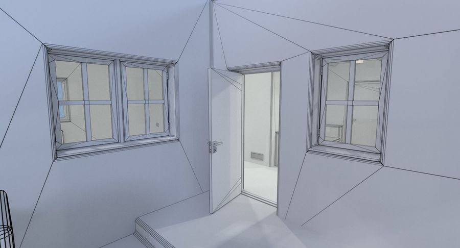 Adobe house two interior + exterior full royalty-free 3d model - Preview no. 20