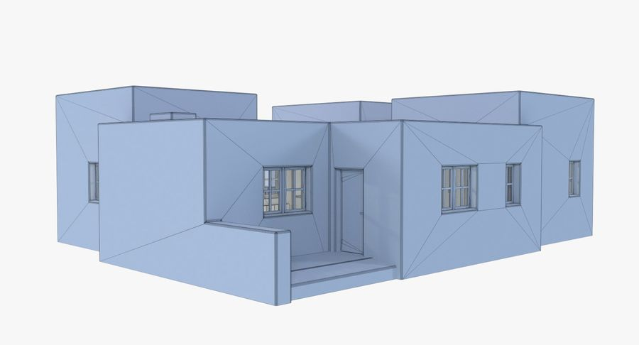 Adobe house two interior + exterior full royalty-free 3d model - Preview no. 18