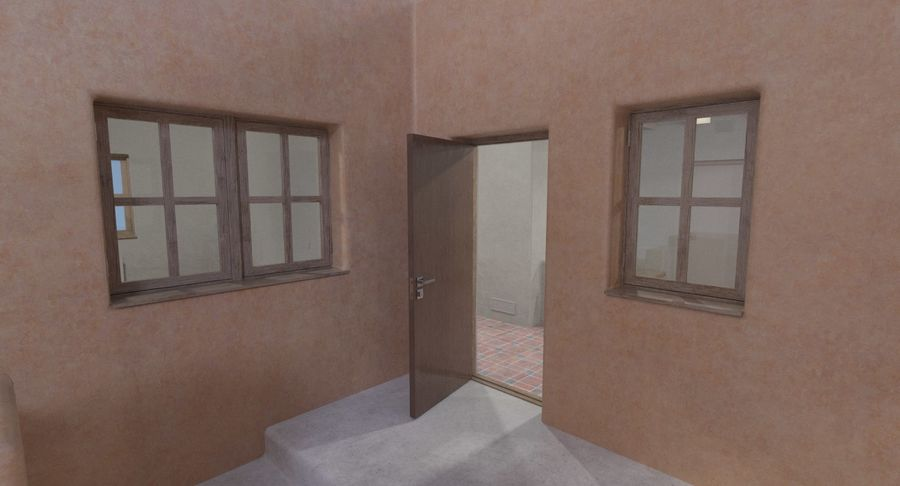 Adobe house two interior + exterior full royalty-free 3d model - Preview no. 7