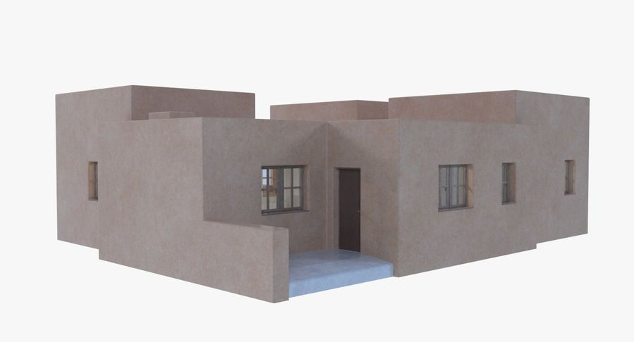 Adobe house two interior + exterior full royalty-free 3d model - Preview no. 5