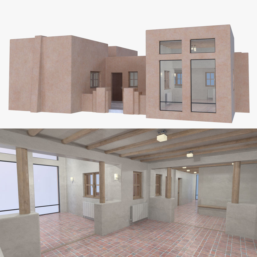 Adobe house two interior + exterior full royalty-free 3d model - Preview no. 1