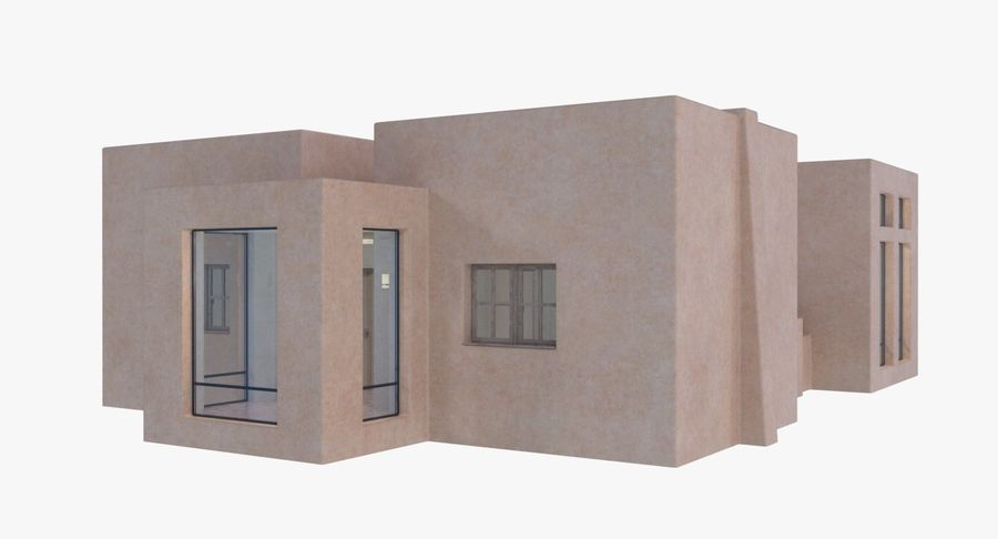 Adobe house two interior + exterior full royalty-free 3d model - Preview no. 3