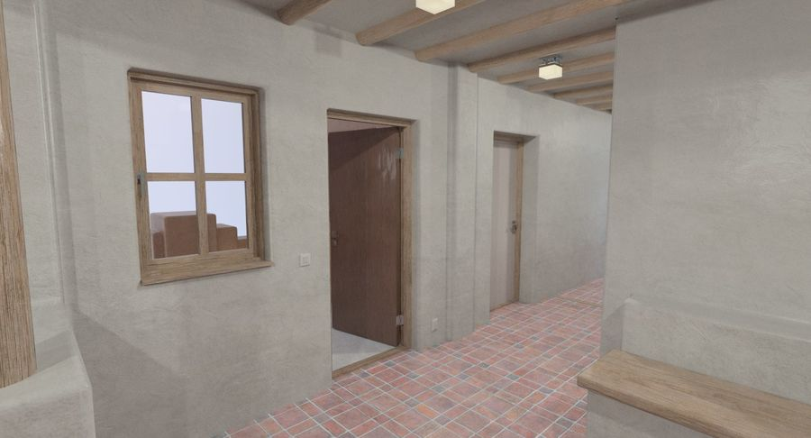 Adobe house two interior + exterior full royalty-free 3d model - Preview no. 8