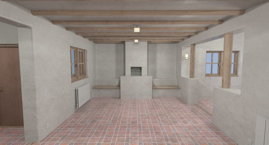 Adobe house two interior + exterior full royalty-free 3d model - Preview no. 13