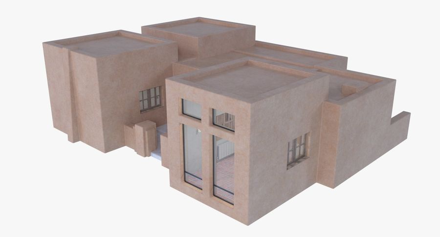 Adobe house two interior + exterior full royalty-free 3d model - Preview no. 6