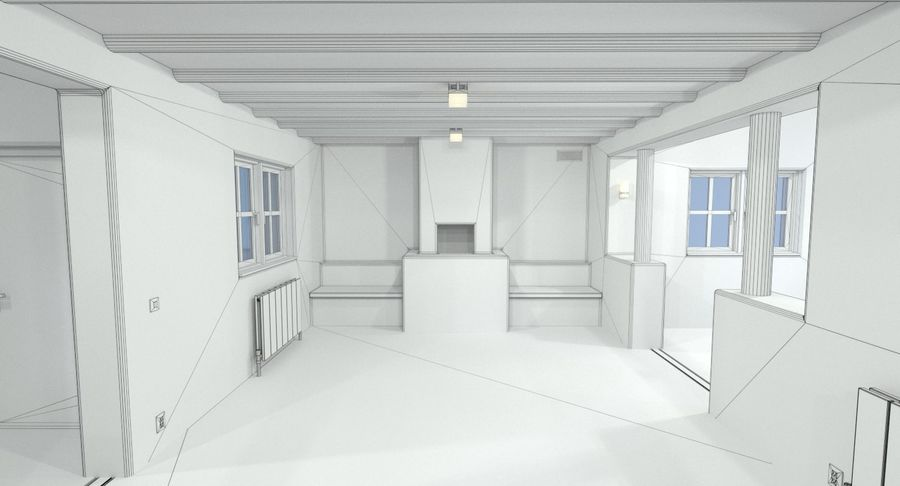 Adobe house two interior + exterior full royalty-free 3d model - Preview no. 26