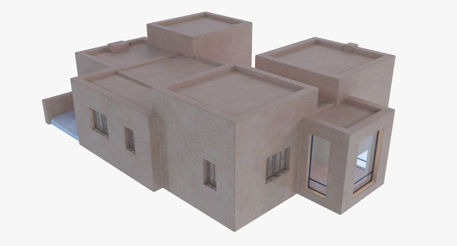 Adobe house two interior + exterior full royalty-free 3d model - Preview no. 4