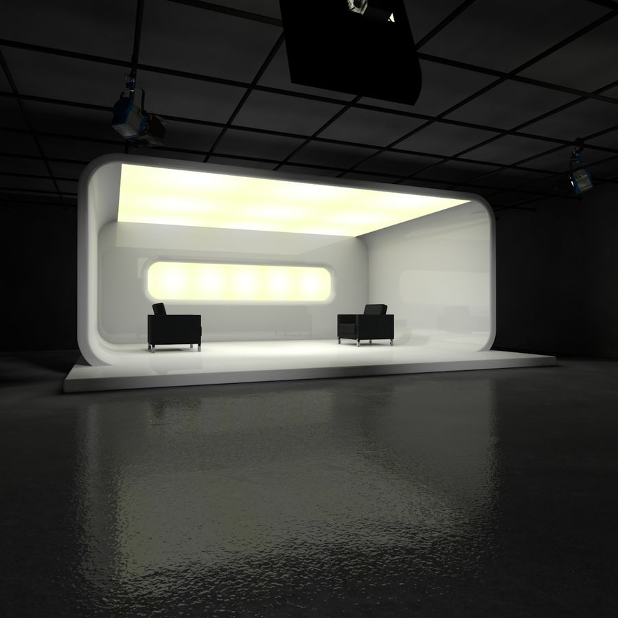 Virtual TV Studio Set royalty-free 3d model - Preview no. 1