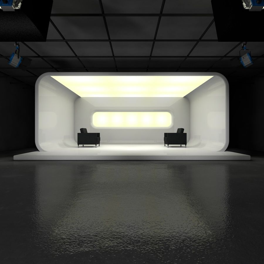 Virtual TV Studio Set royalty-free 3d model - Preview no. 4