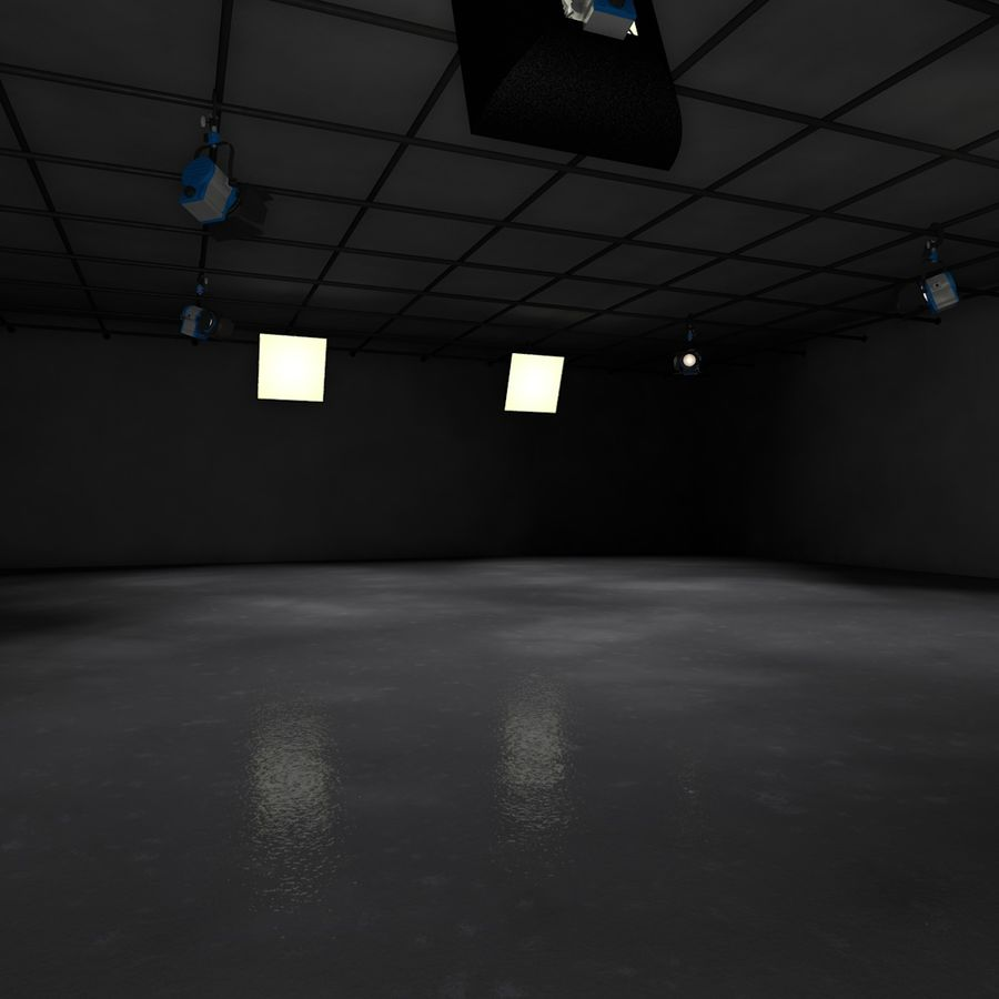 Virtual TV Studio Set royalty-free 3d model - Preview no. 3