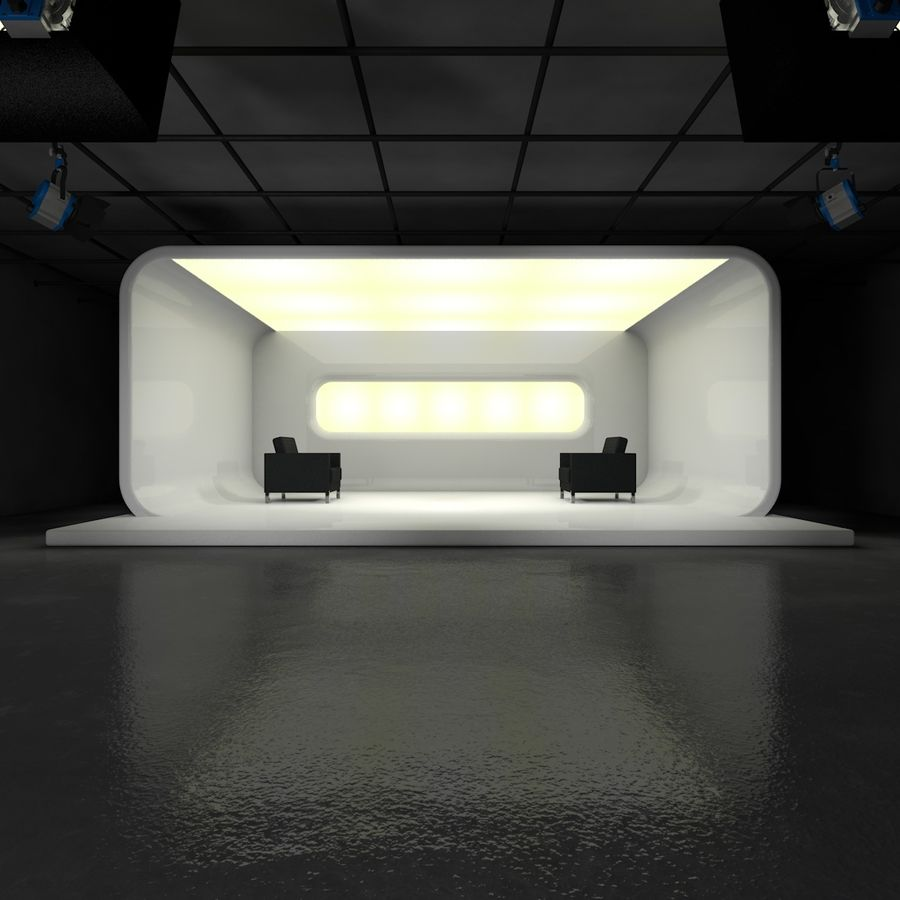 Virtual TV Studio Set royalty-free 3d model - Preview no. 4