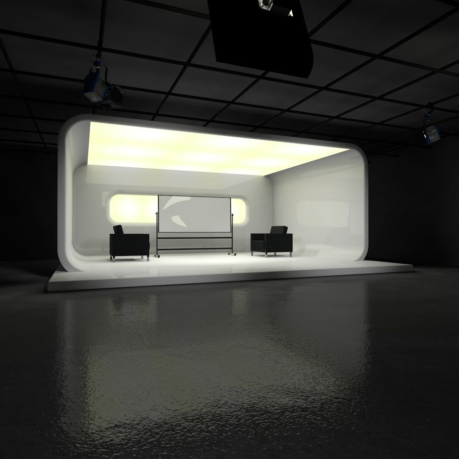 Virtual TV Studio Set royalty-free 3d model - Preview no. 2